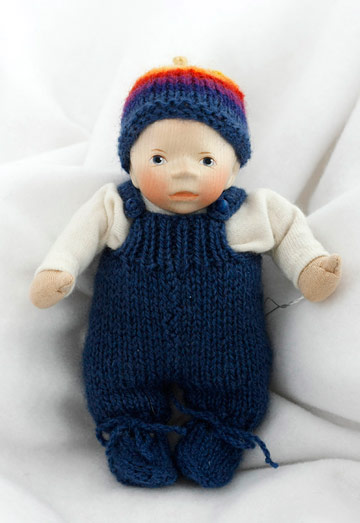 Caucasian Baby In Dark Blue Knit K016
