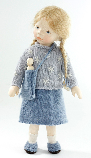 Blond Girl In Light Blue Knit Pullover H291