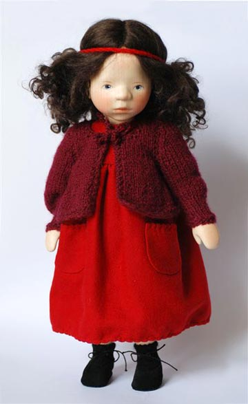 Brunette in Red With Knit Sweater H307