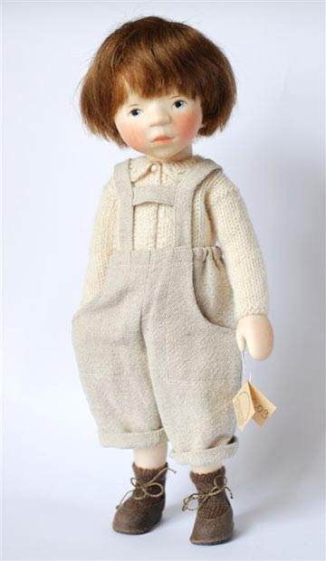 Boy in Beige Overalls H309