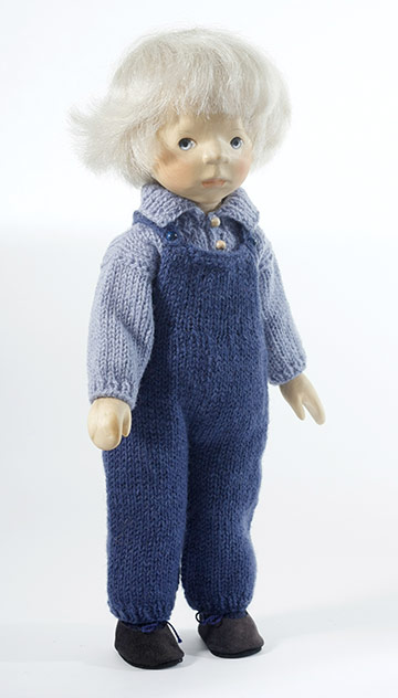 Boy in Knit Overalls