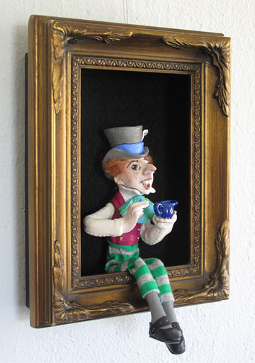 Mad Hatter Shadowbox by Lucia Friedericy, Friedericy Dolls