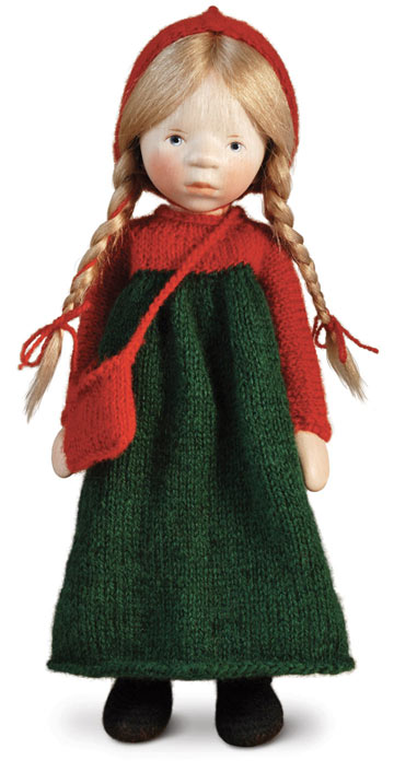 Girl In Red And Green Knit H330