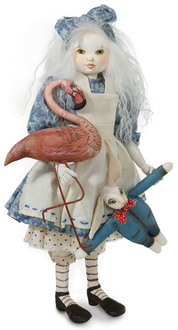 Alice With Flamingo And White Rabbit