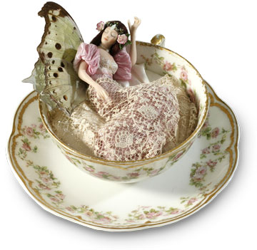 Rose Sleeping Teacup Fairy Brunette