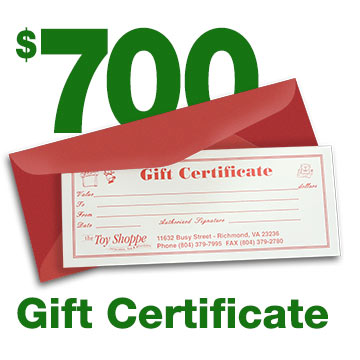 $700 Gift Certificate by The Toy Shoppe