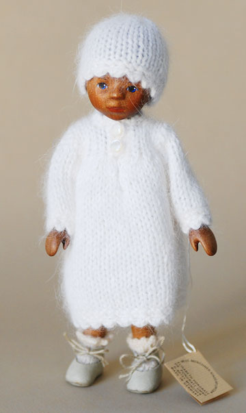 African American Girl In White Angora, Painted Hair VOO2E