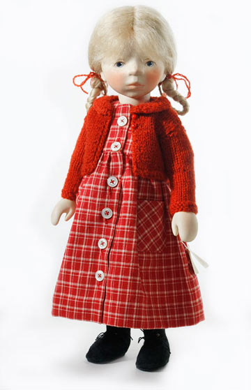Girl In Red Plaid Dress H335