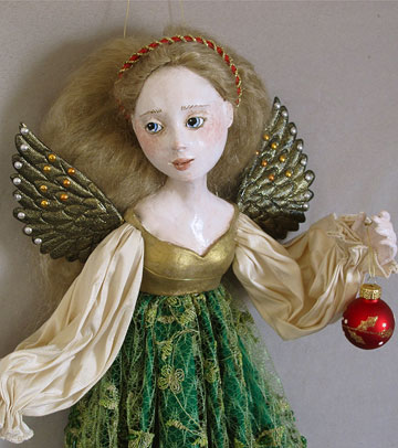 Christmas Angel, Green by Lucia Friedericy, Friedericy Dolls