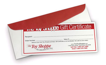 Toy Shoppe Gift Certificate  You Choose The Amount!