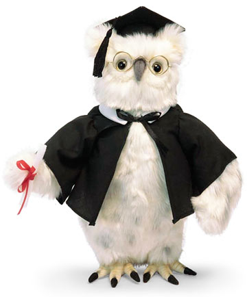 White Graduation Owl 13in
