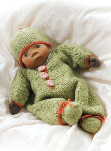 African American Baby In Green Knit M051e