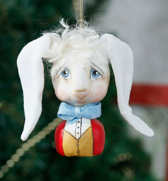 White Rabbit Portrait Ornament