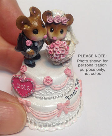Wee Wedding Pair Pink with Personalized Heart and Initials TM-8 by Wee Forest Folk
