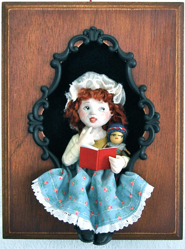 Little Girl Reading With Dolly Shadowbox