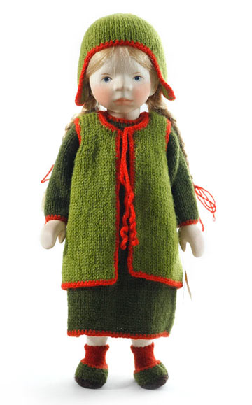 Girl In Green Knit With Red Trim H258