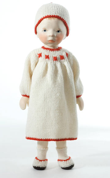 Girl In Cream With Red Trim H353 by Elisabeth Pongratz