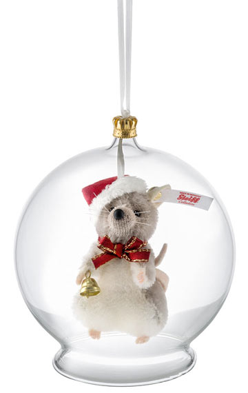 Christmas Mouse in Bauble Ornament EAN 021657 - Steiff Ornaments For The Holidays & Throughout The Year At The Toy