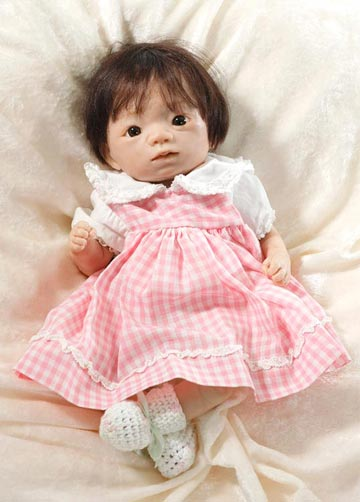 Baby Girl In Pink Gingham Dress