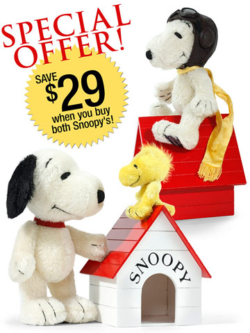 Snoopy and Woodstock with Snoopy Flying Ace