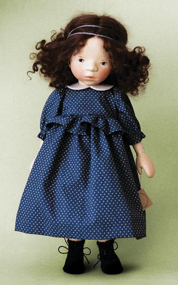 Brunette Girl In Dark Blue Polka Dot Dress H350