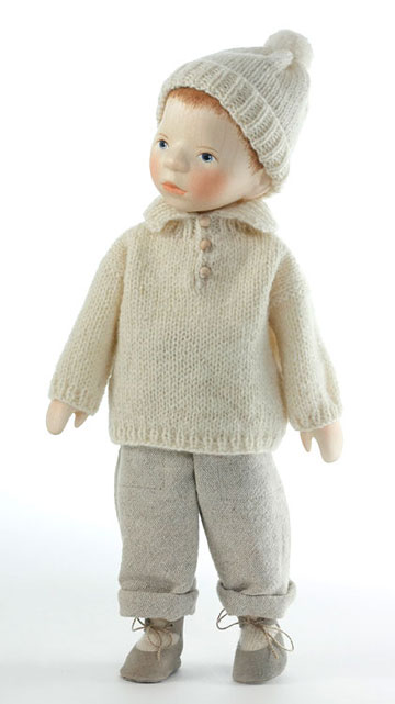 Boy With Painted Hair In Cream Knit H084 by Elisabeth Pongratz