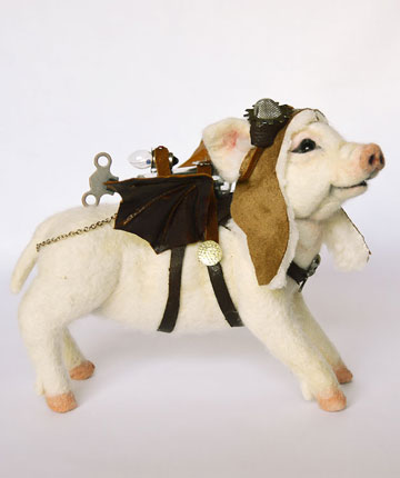 Steampunk Flying Pig-O-Let by Stevi T's Alpaca Encounters