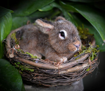 Lifelike Baby Cottontail In Nest