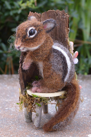 Woodland Chipmunk with Fairie Twig Chair by Stevi T's Alpaca Encounters