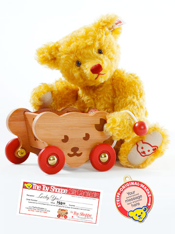 Teddy Commemorative Bear And Steiff Bear Cart