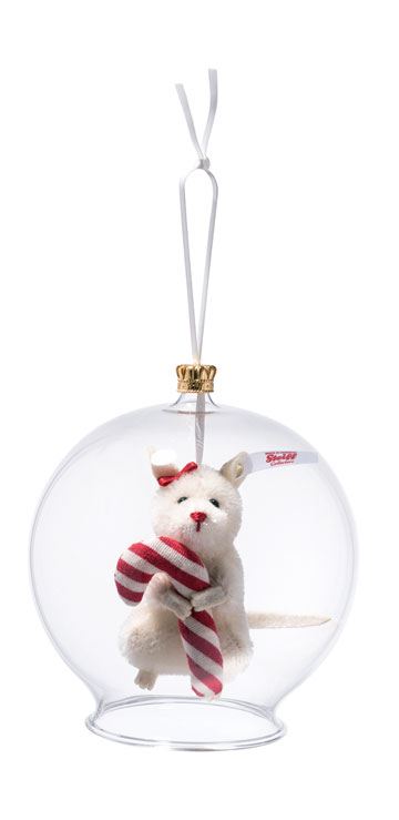 Candy Cane Mouse In Glass Ornament 006296