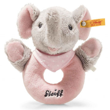 Trampili Elephant Grip Toy With Rattle, Pink And Gray EAN 241703