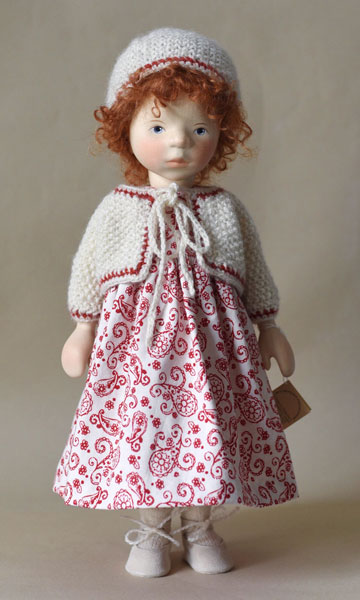 Red Head In Red And White Dress With Knit Sweater H365