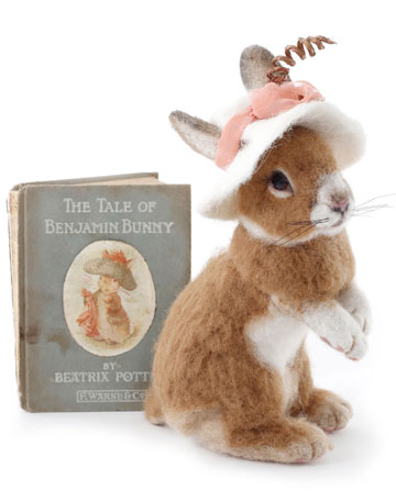 Benjamin Bunny Rabbit With Vintage Book by Stevi T's Alpaca Encounters