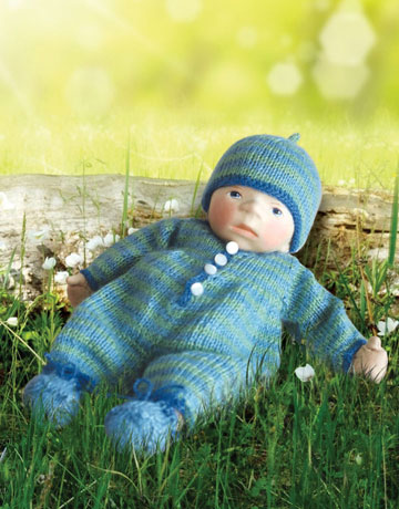Baby In Light Blue And Green Striped Knit B057