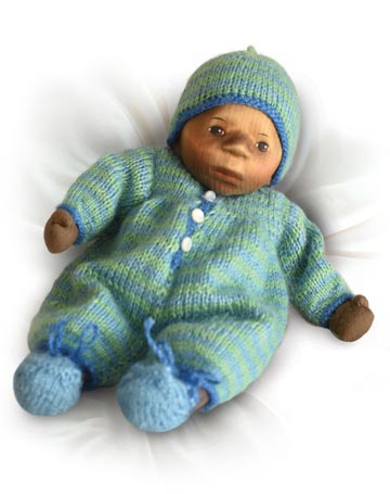 African American Baby In Light Blue And Green Striped Knit B058e