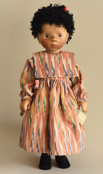African American Girl in Apricot Striped Dress H228e