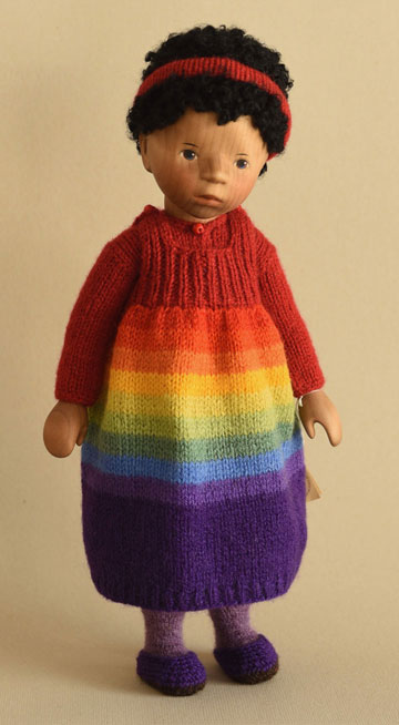 African American Girl In Rainbow Knit Jumper H245e