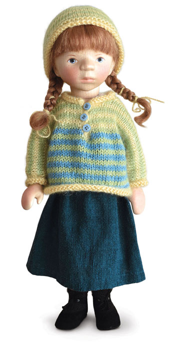 Girl In Yellow And Blue Striped Sweater H367