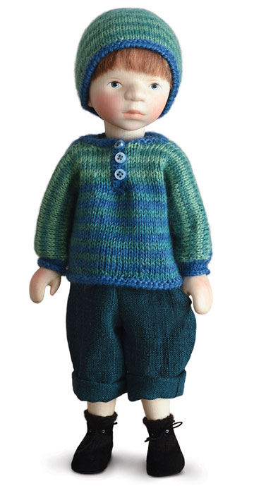Boy In Green And Blue Striped Sweater H368