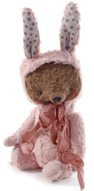 Pocket-Sized Bear In Pink Bunny Costume