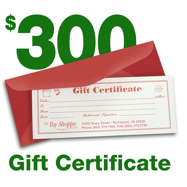 $300 Gift Certificate by The Toy Shoppe