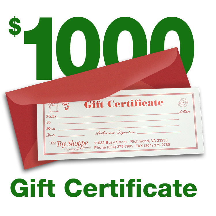 $1000 Gift Certificate by The Toy Shoppe