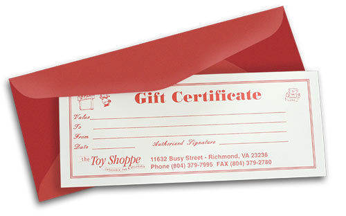 Toy Shoppe Gift Certificate  You Choose The Amount! by The Toy Shoppe