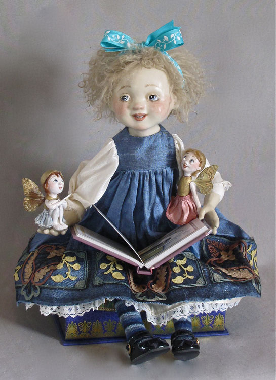 Little Girl Reading with Fairies by Lucia Friedericy, Friedericy Dolls