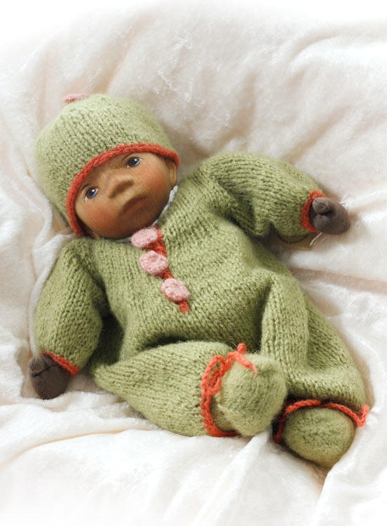 African American Baby In Green Knit M051e by Elisabeth Pongratz
