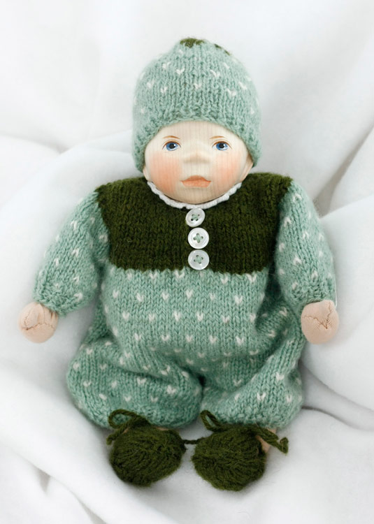 Baby in Minty Green Knit M004 by Elisabeth Pongratz