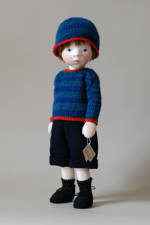 Boy In Blue Knit With Red Trim H345 by Elisabeth Pongratz