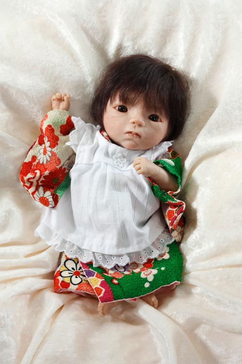 Baby Girl In Colorful Kimono With Striped Pinafore by Akie Yamada