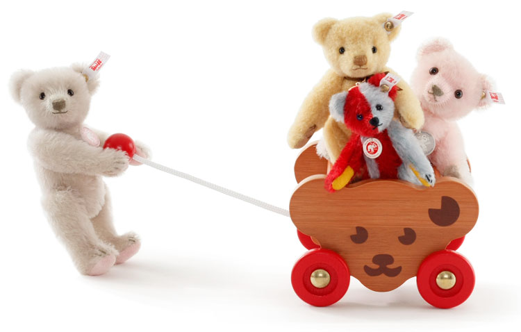 Steiff Bear Cart and friends